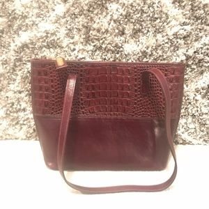Brahmin Croc Embossed Genuine Leather Shoulder Bag